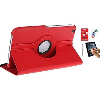 PU Leather Full 360 Rotating Flip Book Cover Case Stand for Samsung Galaxy Tab 3 T311 (Red) with Matte Screen Guard, Stylus, Wrist band + 16GB SANDISK EXTERNAL PENDRIVE