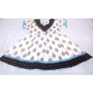 Bijou Kids Anarkali Kurti Black  White