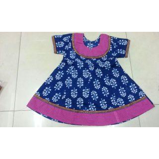 Bijou Kids Anarkali Kurti Blue & Pink