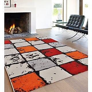 Ambadi Polypropylene White And Red Carpet