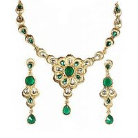 14Fashions Festive Design Floral Green Kundan Necklace Set - 1100501