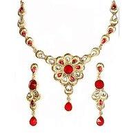 14Fashions Elegant Floral Design Red Kundan Necklace Set - 1100507