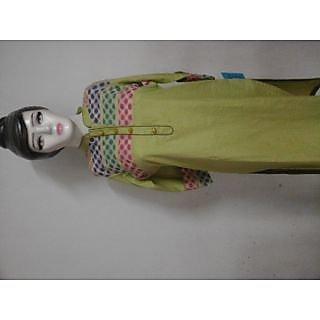 Green Khadi Kurta With Multi Polka Yolk And Bead Button