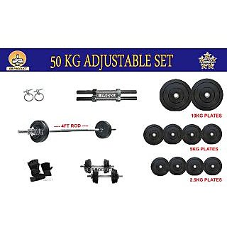 GB PRODUCT BRAND NEW 50 KG ADJUSTABLE GYM PACK + 4FT ROD + GLOVE + 2 ROD