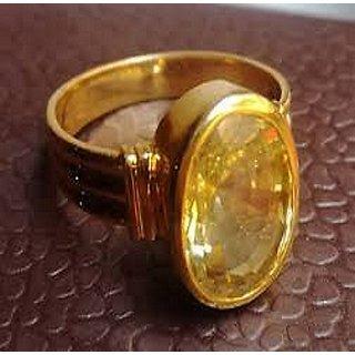 Jaipur gemstone 7.00 ratti yellow sapphire (Asthadhatu ring).