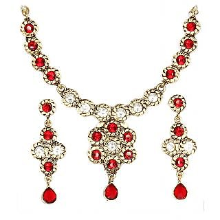 14Fashions Ethnic Floral Design Red Choker Necklace Set - 1100516