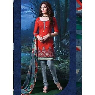 Swaron Orange And Gold Polycotton Lace Salwar Suit Dress Material (Unstitched)