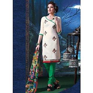 Swaron Purple Polycotton Lace Salwar Suit Dress Material (Unstitched)