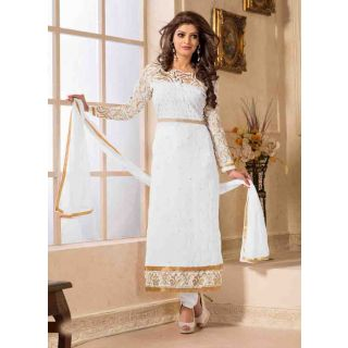 Swaron White coloured Georgette SemiStitched Anarkali Suit 112D6002