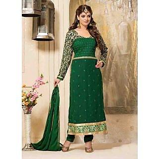 Swaron Green coloured Georgette SemiStitched Anarkali Suit 112D6003