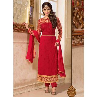 Swaron Red coloured Georgette SemiStitched Anarkali Suit 112D6004