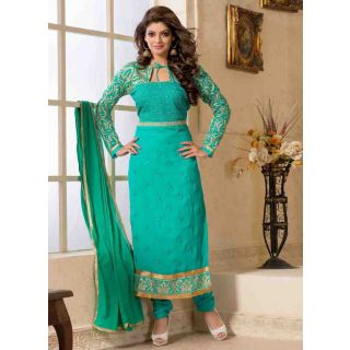 Swaron  Turquoise coloured Georgette SemiStitched Anarkali Suit 112D6005