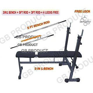 3 IN 1 ( BENCH FOR HOME GYM ) + 5FT BENCH ROD + 3FT ROD+ FREE LOCK