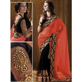 Ladies Gorgeous Chiffon Saree Orange And Black