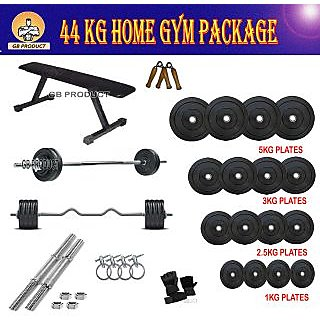 BRAND NEW GB PRODUCT 44 KG HOME GYM WITH BENCH + 4 RODS + GLOVE + GRIPPER + LOCK
