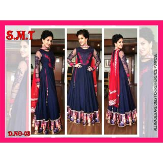 Bollywood Latest Designer Georgette Anarkali Semi-Stitched Suit Blue