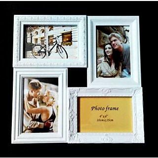 Collage Photo Frame For 4 Photos, White Colour Multi-Frame, Embossed Design