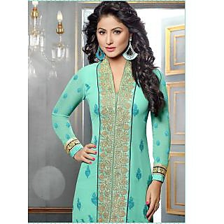 Georgette Terquies Green Semi Stitched Straight Fit Suit - Romit Collection