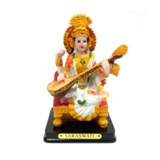 Car Dashboard Devi Saraswati Polyresin Statue, Religious God Idol for Pooja