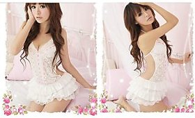 White Babydoll frill style backless lace nightwear with strings design