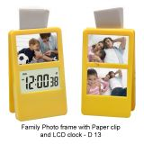 Family Photo Frame With Paper Clip And LCD Clock