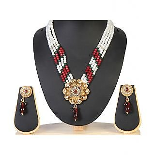 Kriaa Attractive Design Necklace Set in Maroon  Green  -  1100914