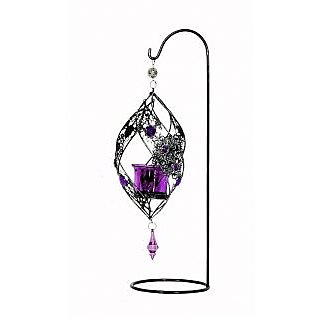 Wrought Iron Hanging Candle Stand Purple