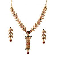 14Fashions Pretty Maroon & Green Necklace Set - 1101109