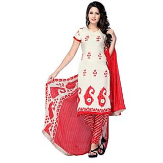 Triveni Elegant Cream Colored Printed Crepe,Jacquard Salwar kameez (Unstitched)