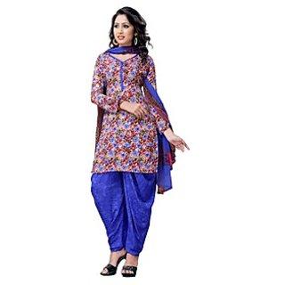 Triveni Nice-looking Multi Colored Printed Crepe Salwar kameez (Unstitched)