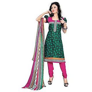 Triveni Divine Green Colored Printed Blended Cotton Salwar Kameez (Unstitched)