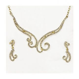 14Fashions Graceful Design Necklace Set in White - 1101311