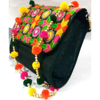 Bijou Kutchi Embroidered Sling Bag Multi  Black
