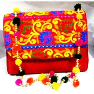 Bijou Kutchi Embroidered Sling Bag Red  Multi