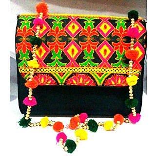 Bijou Kutchi Embroidered Sling Bag Black  Multi