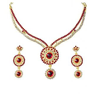 14Fashions Red & White Stone Necklace Set - 1101343