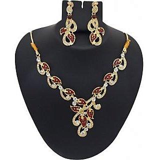 Kriaa Designer Necklace Set in Red - 1102113