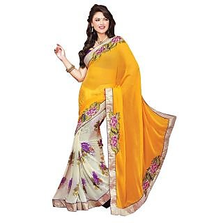 Lemon Georgette Saree With Embroidery Work