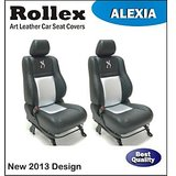 Evalia Art Leather Car Seat Covers Black With White