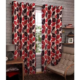 Home Passion Pack oo 2 Leaf Maroon Eyelet Door Curtain (7X4ft)