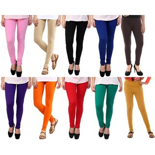 Stylobby Multicolor Cotton Lycra Pack Of 10 Leggings