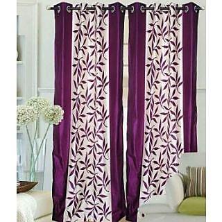 LIVVIN Superior Kolaveri wine purple Polyester Long Door Curtain(set of 2
