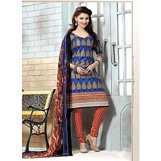Swaron Orange And Black Dupion Silk Lace Salwar Suit Dress Material (Unstitched)