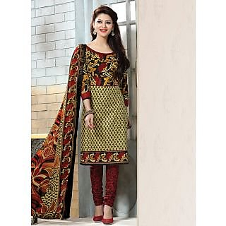 Swaron Red And Green Dupion Silk Lace Salwar Suit Dress Material (Unstitched)