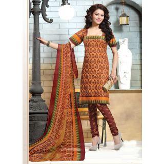 Swaron Peach Dupion Silk Lace Salwar Suit Dress Material (Unstitched)
