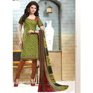Swaron Brown Dupion Silk Lace Salwar Suit Dress Material (Unstitched)