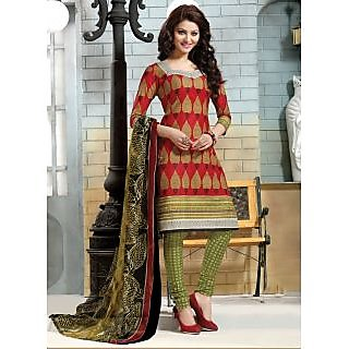 Swaron Orange And Brown Dupion Silk Lace Salwar Suit Dress Material (Unstitched)