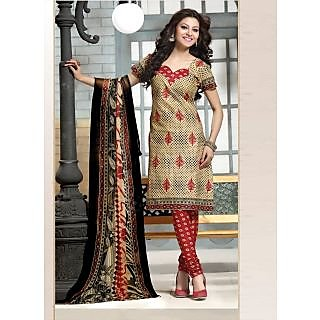 Swaron Blue Dupion Silk Lace Salwar Suit Dress Material (Unstitched)