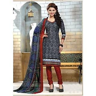 Swaron Orange And Gold Dupion Silk Lace Salwar Suit Dress Material (Unstitched)