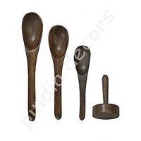 Kichen Utensils Wooden Spoon 3 Pc Set Frying Serving Spatula Dosa Stick Masher